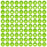 100 analytics icons set green circle Royalty Free Stock Image