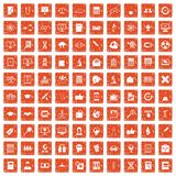 100 analytics icons set grunge orange. 100 analytics icons set in grunge style orange color isolated on white background vector illustration Stock Illustration