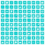 100 analytics icons set grunge blue. 100 analytics icons set in grunge style blue color isolated on white background vector illustration Stock Photos