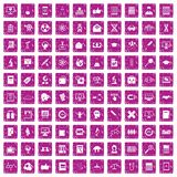 100 analytics icons set grunge pink. 100 analytics icons set in grunge style pink color isolated on white background vector illustration Stock Photos