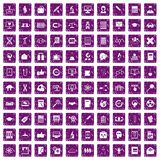 100 analytics icons set grunge purple. 100 analytics icons set in grunge style purple color isolated on white background vector illustration Stock Photo