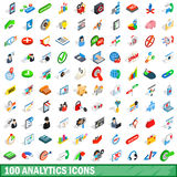100 analytics icons set, isometric 3d style Stock Photo