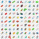 100 analytics icons set, isometric 3d style Royalty Free Stock Photos