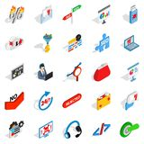 Analytics icons set, isometric style. Analytics icons set. Isometric set of 25 analytics vector icons for web isolated on white background Royalty Free Stock Images