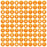 100 analytics icons set orange. 100 analytics icons set in orange circle isolated on white vector illustration Stock Illustration