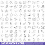 100 analytics icons set, outline style Royalty Free Stock Photo