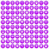 100 analytics icons set purple. 100 analytics icons set in purple circle isolated on white vector illustration Royalty Free Illustration