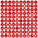 100 analytics icons set red. 100 analytics icons set in red circle isolated on white vector illustration Royalty Free Stock Photo