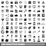 100 analytics icons set, simple style Royalty Free Stock Photo