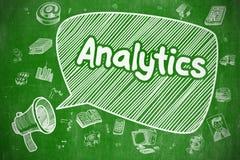 Analytics - illustration de griffonnage sur le tableau vert Image stock
