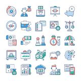Analytics and Investment Flat Icons Pack vector illustration