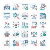 Analytics and Investment Flat Vectors Set royalty free illustration