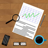 Analytics with magnifying glass. Report result infochart and diagram, vector illustration Royalty Free Stock Photography