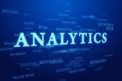 Analytics. Nube de las palabras en fondo azul profundo. Foto de archivo