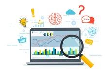 Analytics och information om rengöringsduk Fokusen är endast på ordaffärsstrategin, i red Arkivfoton