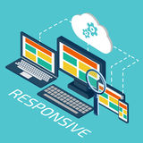 Analytics and programming vector. Web application optimization. Responsive pc Stock Photography