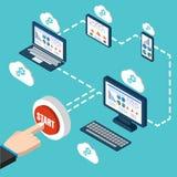 Analytics and programming vector. Web application optimization. Responsive pc Stock Photo
