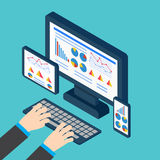 Analytics and programming vector. Web application optimization. Responsive pc. Vector illustration Stock Images