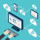 Analytics and programming . Web application optimization. Vector illustration Stock Image