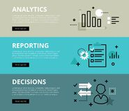 analytics reporting decisiones Banderas del Web fijadas libre illustration