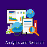 Analytics and Research Concept Design Style. Analysis, analytics icon, data analytics, business analytics, graph management business, development and search Stock Photography