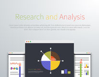 Analytics and Research Concept Design Style. Analysis, analytics icon, data analytics, business analytics, graph management business, development and search Royalty Free Stock Images