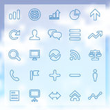 25 analytics, research icons set. 25 outline analytics, research icons set, blue on clouds background Royalty Free Stock Photography
