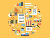 Analytics round illustration with charts. Stock Photos