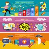 Analytics, SEO Optimization and Video Marketing stock illustration