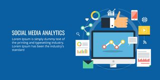 Analytics social de media - analyse de données sociale de media - analyse des marchés numérique Bannière sociale de media de conc Images libres de droits
