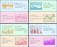 Analytics Statistic Collection Vector Illustration. Analytics and statistics, collection of pages and visual representation, charts set, statistics and analytics Royalty Free Stock Photography