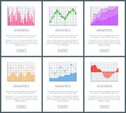 Analytics and Statistics Page Vector Illustration. Analytics and statistics collection of web pages charts of different forms with information, analytics and Royalty Free Stock Images