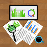 Analytics and statistics. Graph on tablet, financial research and analyzing annual statistic, vector illustration Royalty Free Stock Photo