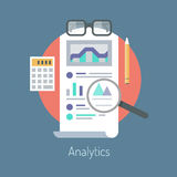 Analytics and statistics illustration. Flat design vector illustration concept of poster on analytics research information and website data statistics.  on Stock Photos