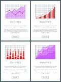 Analytics and Statistics Web Vector Illustration. Analytics and statistics web pages set with text sample and charts, buttons and infographics, analytics and Royalty Free Stock Photo