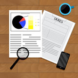 Analytics of taxation. Accounting analysis chart, document annual income, vector illustration Stock Images