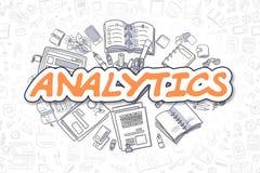 Analytics - texte d'orange de bande dessinée Concept d'affaires Images libres de droits