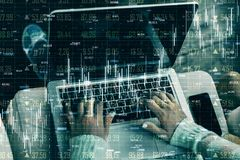 Analytics and trade concept. Close up of hands using laptop with glowing forex chart hologram on blurry background. Double exposure vector illustration