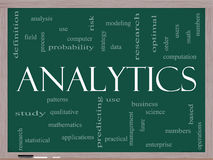 Analytics Word Cloud Concept on a Blackboard Royalty Free Stock Image