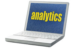 Analytics word on a laptop Royalty Free Stock Photos