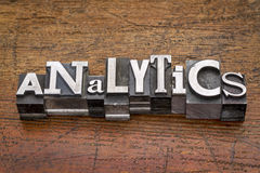 Analytics word in metal type Stock Image