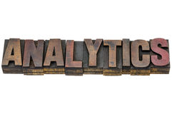 Analytics word in wood type Royalty Free Stock Photography