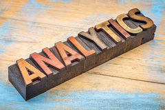 Analytics word in wood type Royalty Free Stock Images