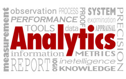 Analytics Words Collage Background Performance Measurement Metrics. Analytics and related words in a collage background including performance, measurement stock illustration