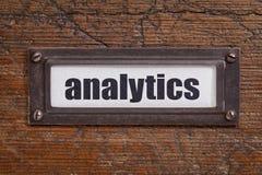 Analyticsetikett - etikett för mappkabinett Arkivfoton