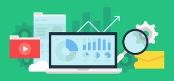 Analyticshjälpmedel och digitalt innehåll arkivbild