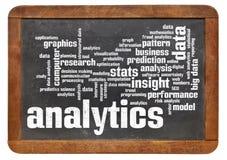 Analyticsordmoln på svart tavla Fotografering för Bildbyråer
