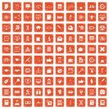 100 analyticspictogrammen geplaatst grunge sinaasappel Royalty-vrije Stock Foto