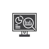 Analytik, Arbeitsplatzrechner mit Diagrammikonenvektor, füllte flaches Zeichen, das feste Piktogramm, das auf Weiß lokalisiert wu stock abbildung