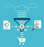 Analytik für Verkaufstrichter Lizenzfreie Stockbilder